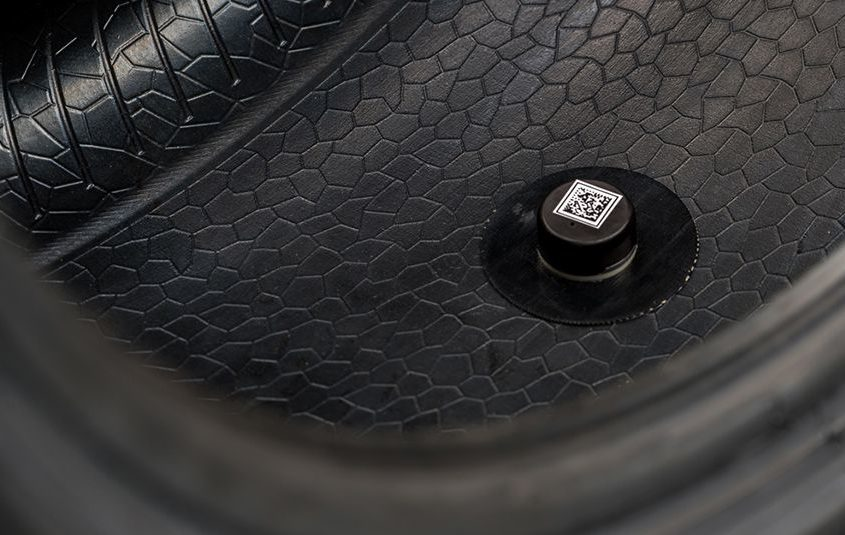"Tiny sensor and Battery ""married"" to the tire with unique adhesive 